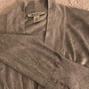 Long silver White House Black Market cardigan.